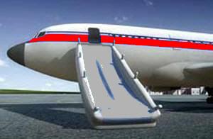 Prueba de evacuación de los aviones.